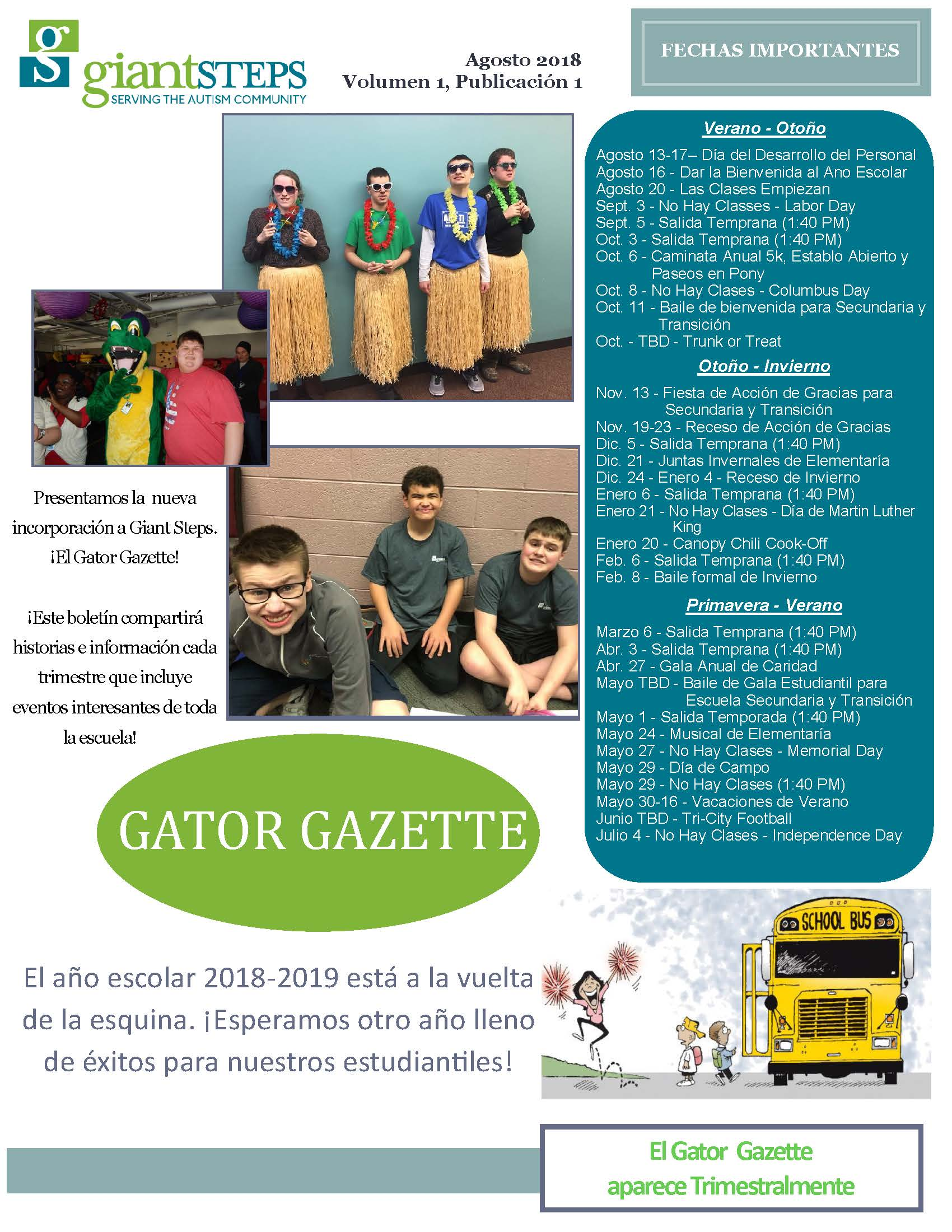 Gator Gazette Issue 1, Volume 1 [Spanish] Cover